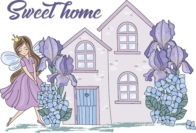 Sweet home cartoon color illustration
