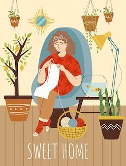 Sweet home lettering and woman knitting at home flat vector illustration