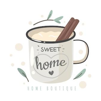 甘いホームマグ。ホットコーヒー、シナモンスティック、レタリングが入ったエナメルカップ、幸せで居心地の良い家、あなたの家への愛。概念
