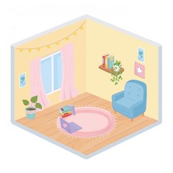 甘い家のソファー植物ラップトップ本本棚窓ライトカーペット等尺性スタイル