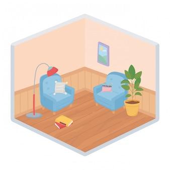 Милые домашние диваны, кресла, подушки, лампы, книги, каркас, завод, комната, изометрический стиль.