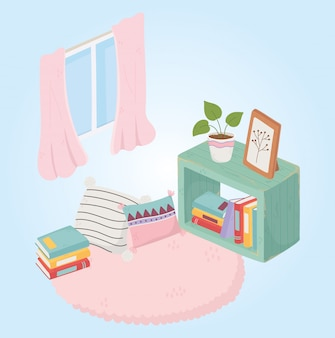 本の甘いホームスタック鉢植え植物クッションカーペットと窓