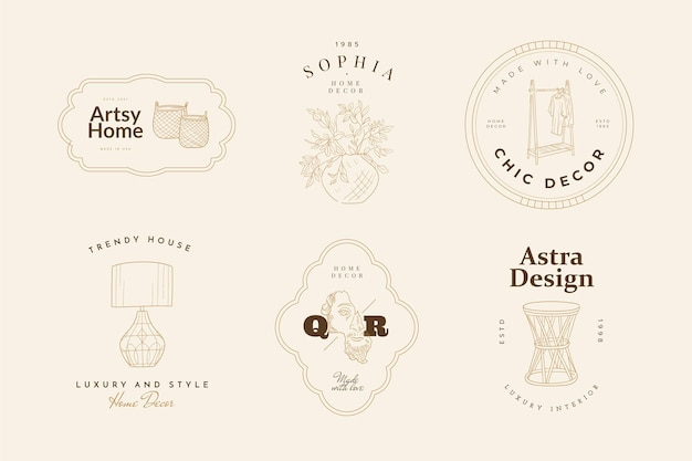 Sweet home vector signs or logo templates set