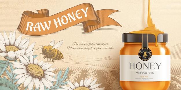 Sweet honey ad banner golden jar mockup on beautiful vintage engraving flowers and natural scene