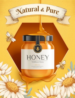 Sweet honey ad template golden jar mockup set on hive with beautiful engraving flower illustration