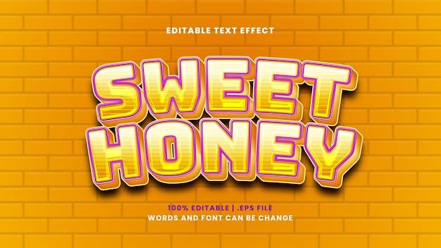 현대적인 3d 스타일의 달콤한 꿀 편집 가능한 텍스트 효과