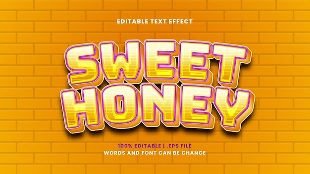 Sweet honey editable text effect in modern 3d style