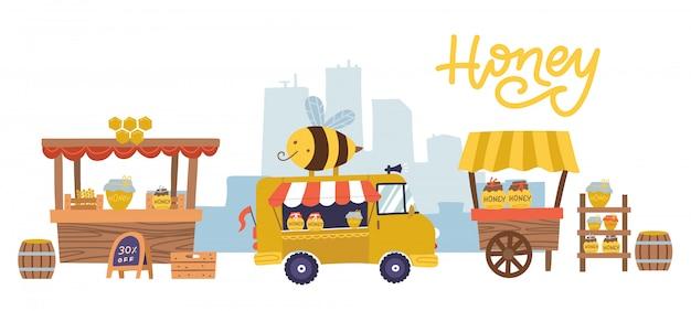 多くの屋台やカウンター、ショーケースがある甘い蜂蜜食品市場。農村養蜂場の健康的な栄養、小売り蜂の巣製品の店または店での農学。養蜂のテーマ。フラットイラスト