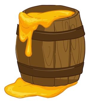 Сладкий мед в деревянной банке здоровый продукт вектор