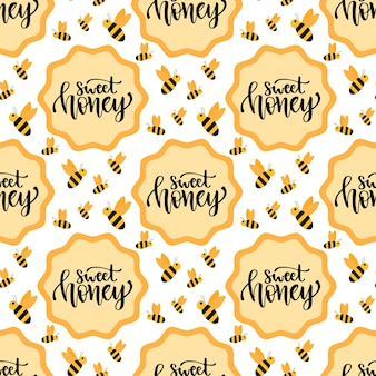 Sweet honey seamless pattern. packaging design with hand lettering