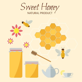 Sweet honey vector flat illustrations