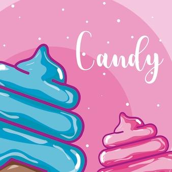 Sweet ice cream cones colorful cartoons
