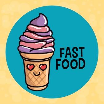Sweet ice cream kawaii character