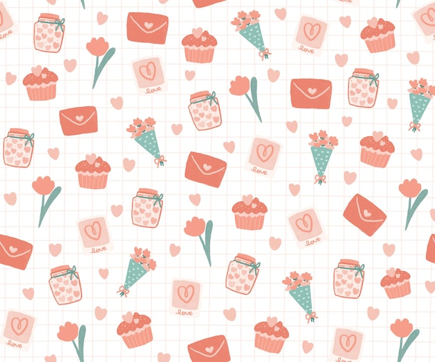 Sweet items with heart pattern background.