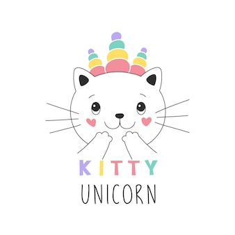 Sweet kitty unicorn girlish illustration