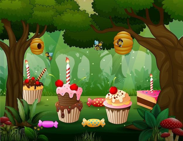 Sweet land in the forest background