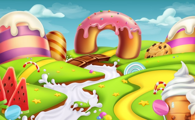 Sweet landscape. 3d vector illustration