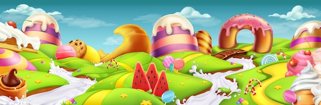 Sweet landscape panorama. 3d vector illustration