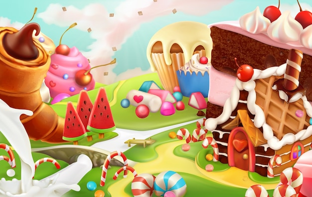Sweet landscape, vector illustration