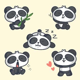Sweet lazy panda doodle illustration