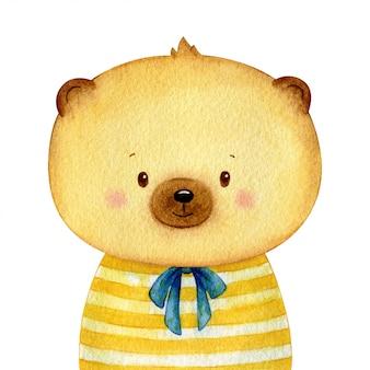 달콤한 작은 갈색 곰은 인간처럼 셔츠를 입고. 명랑 수채화 문자 격리입니다. 손으로 그린 일러스트레이션