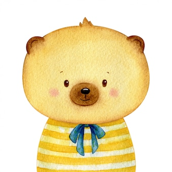 Sweet little brown bear dressed in a shirt like a human. cheerful watercolor character isolated  . hand painted illustration