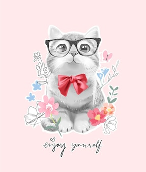 빨간 나비 넥타이와 화려한 꽃 일러스트와 함께 달콤한 작은 고양이