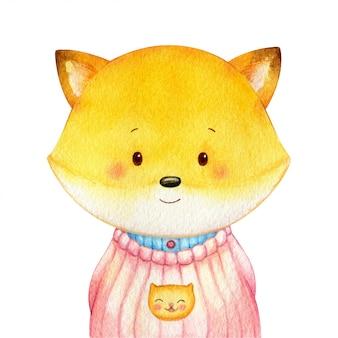 달콤한 작은 여우는 인간처럼 셔츠를 입고. 명랑 수채화 문자 격리입니다. 손으로 그린 일러스트레이션