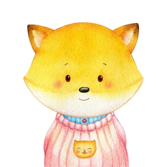 Sweet little fox dressed in a shirt like a human. cheerful watercolor character isolated  . hand painted illustration