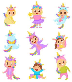 Sweet little kids in unicorn costumes set illustration on a white background