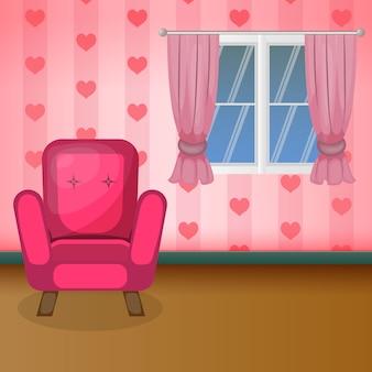 甘いリビングルームモダンな家族の家のインテリア家具フラットデザイン。