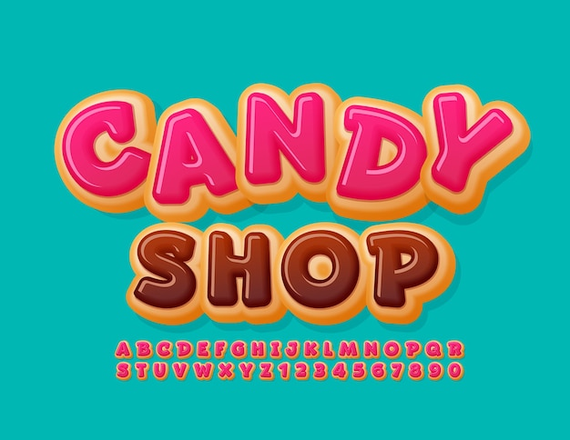 Sweet logo candy shop pink glazed font funny donut alphabet letters and numbers set