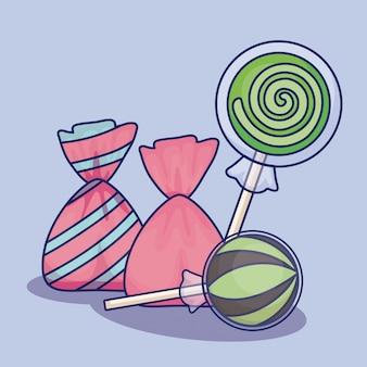 Сладкие леденцы на палочке с конфетами