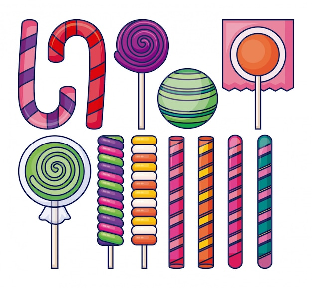 Sweet lollipops with candies icons