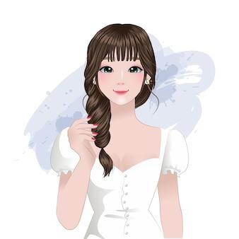 三つ編みの髪型を持つ甘く見えるアジアの女の子。美しい女性の女性キャラクター
