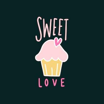 甘い愛かわいいカップケーキベクトル