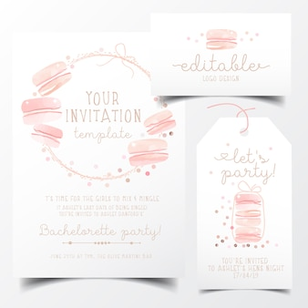 Sweet macaroons party invitation card