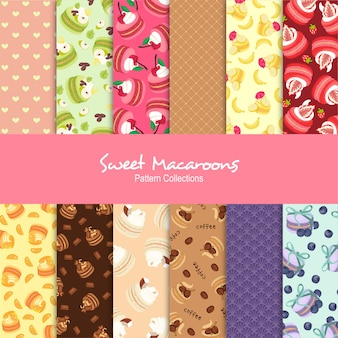 Sweet macaroons pattern collections