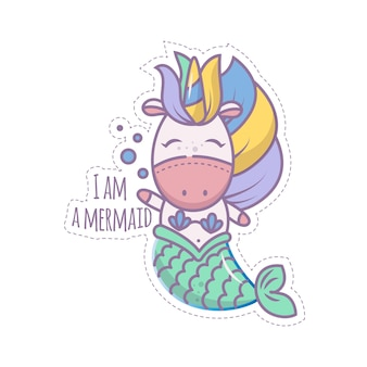Sweet magical unicorn mermaid swims in the sea. isolated object on a white background. icon in the style of a cartoon. sticker for children. linear illustration.