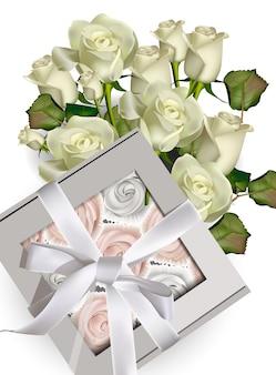 Подарочная коробка sweet meringues и букет из белых роз