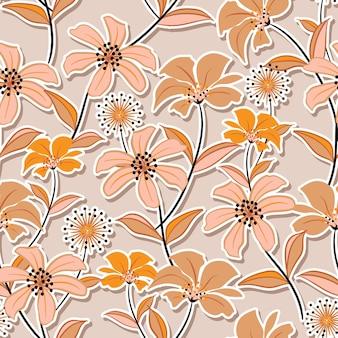 귀여운 야생화 패턴의 꽃무늬의 달콤한 무드. 식물 모티브는 그림자와 함께 무작위로 흩어져 있습니다.