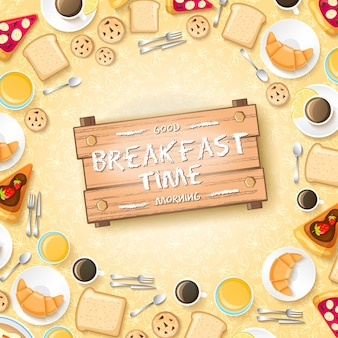 Sweet morning template with pancakes desserts croissants honey and cups of coffee for two people illustration