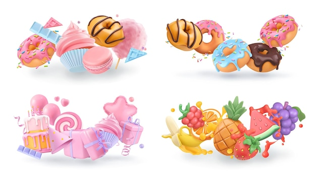 Sweet objects 3d vector cartoon. cupcake, donuts, cake, fruits
