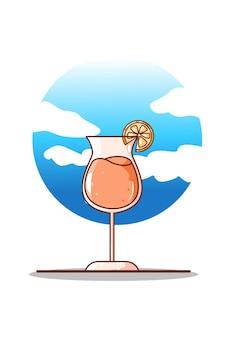 甘いオレンジジュースの漫画イラスト