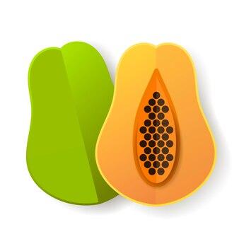 甘いパパイヤとカットパパイヤ熱帯のエキゾチックなフルーツオレンジグリーンの種アイコン。