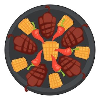 Сладкий перец и кукуруза с перцем чили, приготовленные на гриле и поданные в ресторане или в закусочной. изысканная кухня, вегетарианские и веганские блюда. здоровое питание, диета и питание на пикнике. вектор в плоском стиле