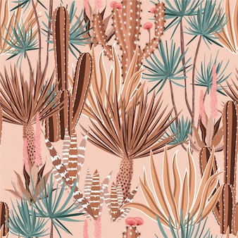 Sweet pastel cactus plant and flowers seamless pattern.
