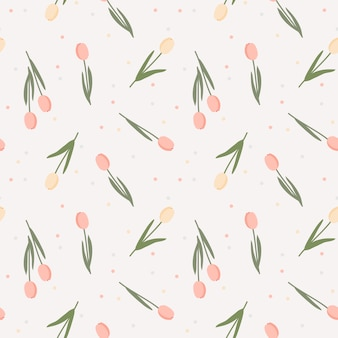 Sweet pastel color flower seamless pattern. lovely tulip concept.