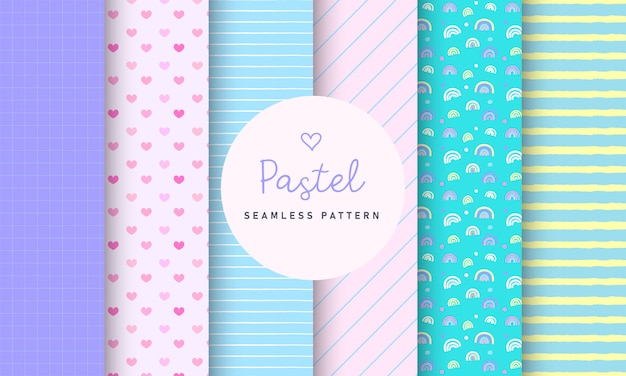 Sweet pastel seamless pattern collection.