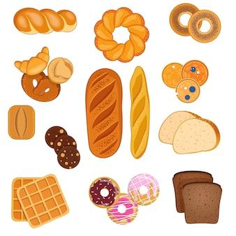 甘いペストリーとさまざまな種類のパン小麦とライ麦パンのバゲット甘いパンとビスケット